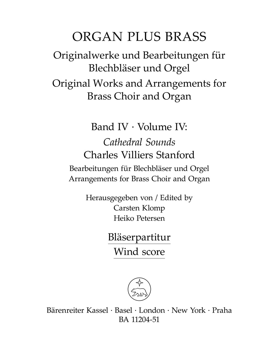 organ plus brass, Volume IV Cathedral Sounds (Wind Score in C)