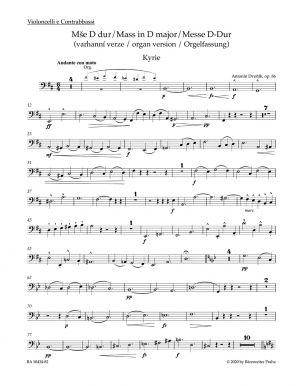 Mass in D major Op.86 Organ Version (Cello/Bass)