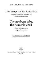 Das neugeborne Kindelein (The newborn babe, the heavenly child) (BuxWV 13) (Choral Score)
