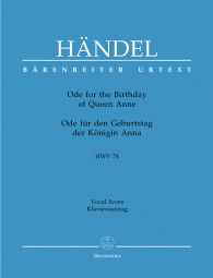 Ode for the Birthday of Queen Anne - Eternal source of light divine (HWV 74) (Vocal Score)
