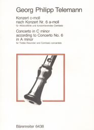 Concerto in C minor for Treble Recorder & Cembalo concertato (TWV 42:a2) (Score & Parts)